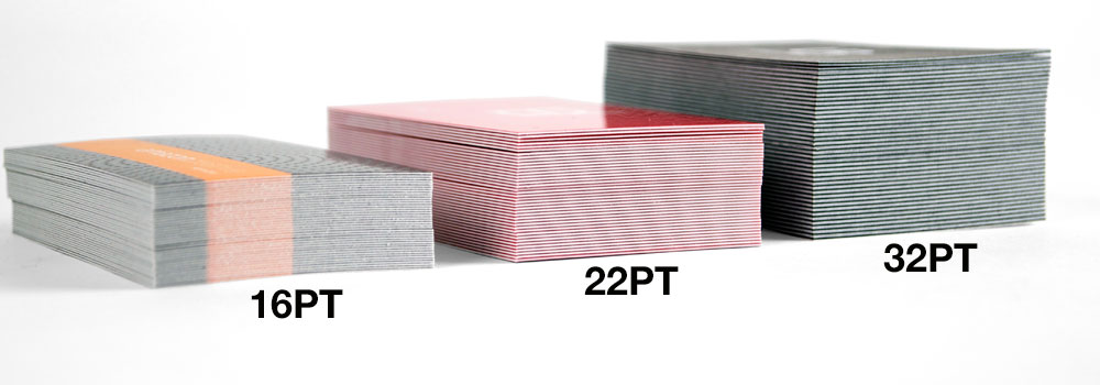 The ModCard compared to other Business Card Thicknesses.