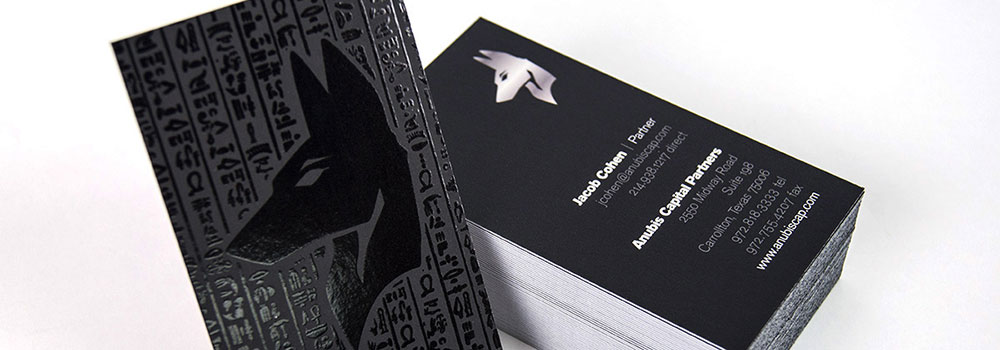 16PT Silk Laminated Black Business Card with Spot UV