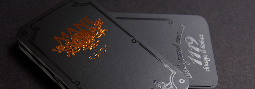 Silk Laminated Business Card with Copper Foil and Spot UV